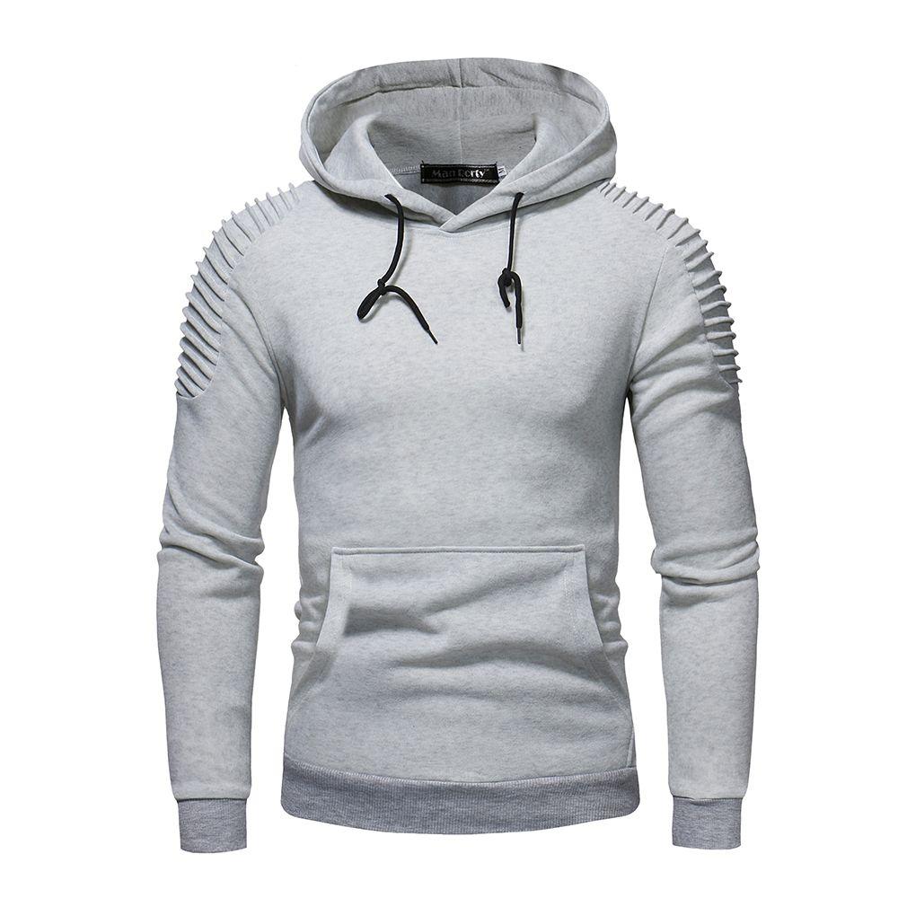 Herren Hoodies Sweatshirts Männer 2021 Männlich Langarm Solide Farbe Falten Mit Kapuze Sweatshirt Mens Hoodie Trainingsanzug Sweat Coat Casual Sportswear