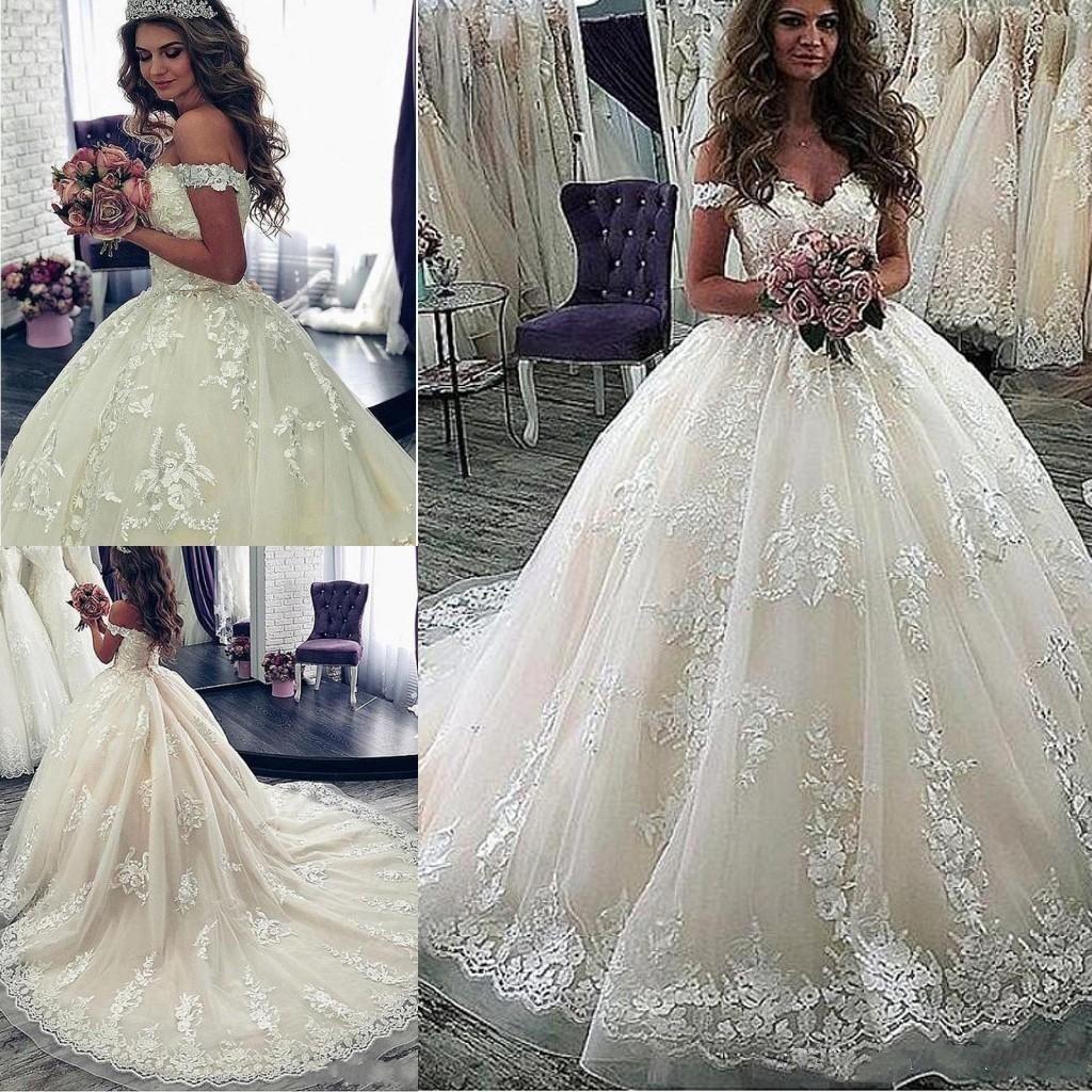Страна полный шнурок линия, Свадебные платья Элегантный с плеча Аппликации Длинные Поезд Свадебные платья Плюс Размер Свадебные платья