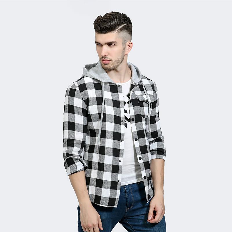 20ss Tasarımcı Casual Erkek Gömlek Uzun Kollu Erkek Marka Kapşonlu Gömlek Pamuk Ekose Gömlek Erkekler Tuxedo Gömlek Plus Size Slim Fit Homme Toptan