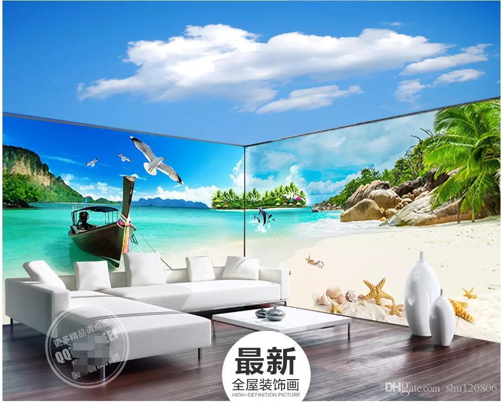 Papier Peint Panoramique Paysage acheter 3d chambre wallpaer personnalisé photo panoramique géant maldives  paysage thème espace fond décor À la maison 3d peintures murales papier