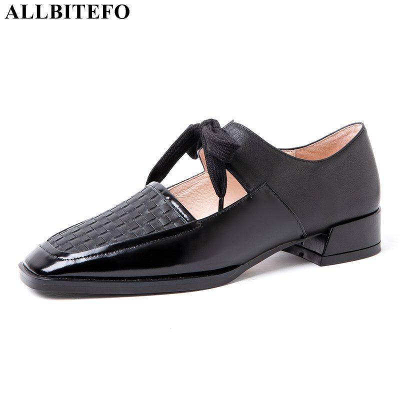 ALLBITEFO de gran tamaño: 34-42 completos de cuero genuino del dedo del pie cuadrado talón grueso de las mujeres zapatos de mujer zapatos de tacón alto zapatos de tacón alto talones