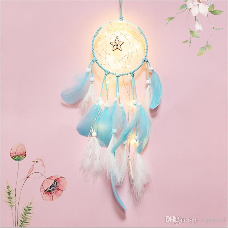 20 lámpara Dream Catcher Net Led Stars luces de cadena DIY carillones de viento plumas naturales colgante de pared decoración DreamCatcher lámpara cadena