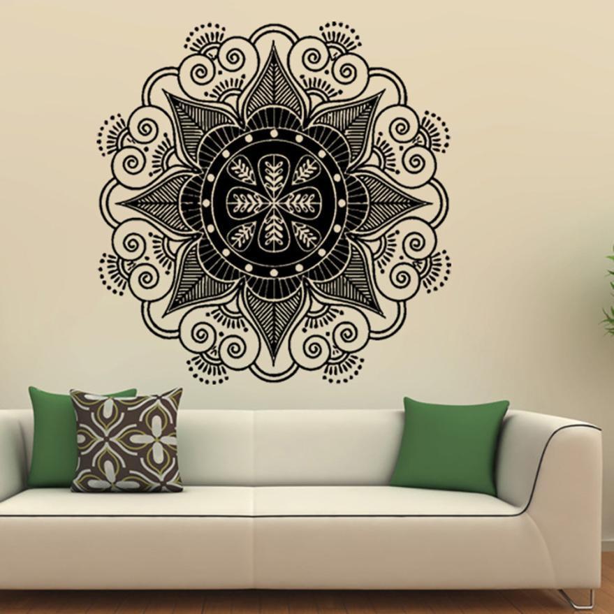 Home Decor Mandala Flor Indiano Quarto Decalque Da Parede Da Arte Adesivos Mural Casa Família de Vinil adesivo de parede Casa Deco