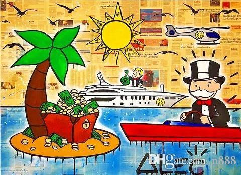 Handpainted Alec Monopoly Banksy Abstract Graffiti Pop Art Oil Painting Island on Canvas High Quality Wall Art office culture g276