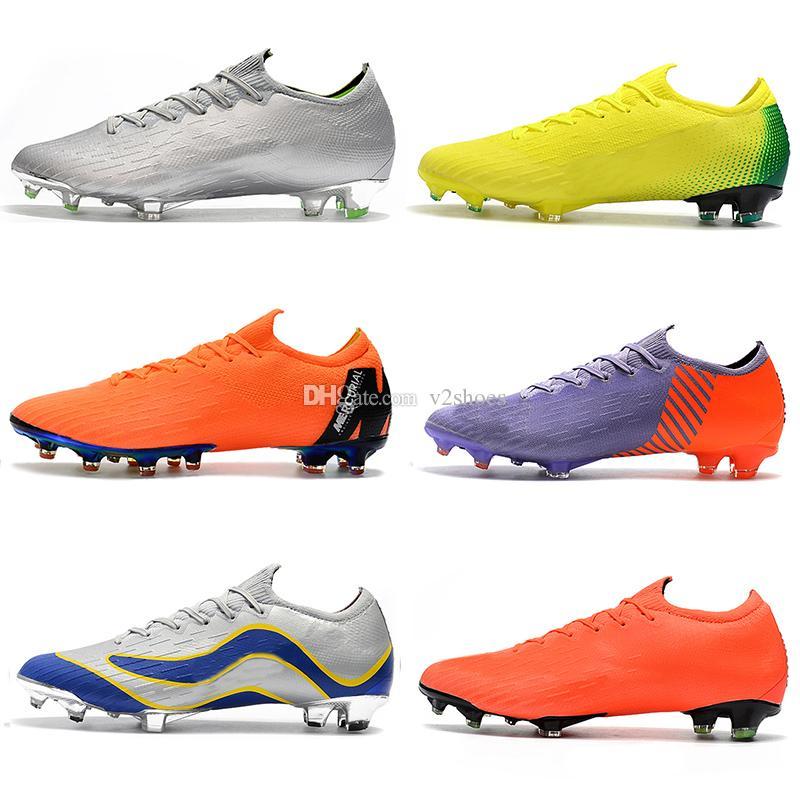 Erkek Düşük Ayak bileği Futbol Boots Oyun Bitti Mercurial Buharı XII Elite FG Futbol Ayakkabı Neymar ACC Superfly buharı VII 360 CR7 Futbol Profilli