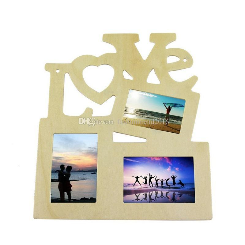 Hollow Wood Blank Picture Photo Frame Home Decor DIY Love Wooden Family Frames House Ornament