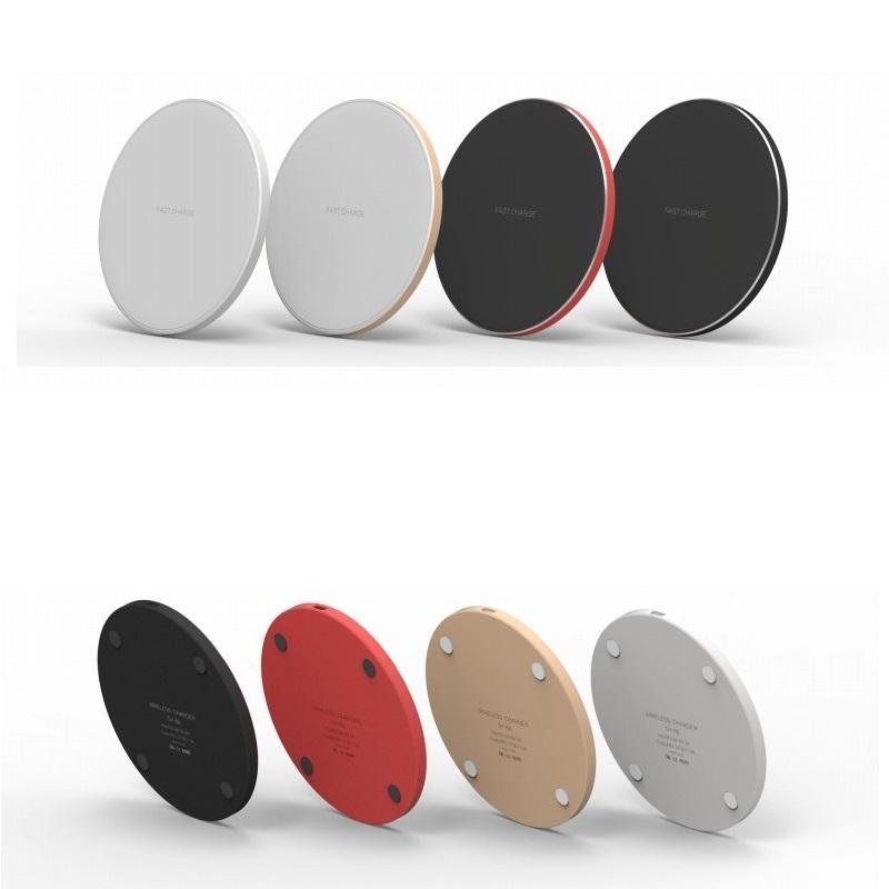 Caricabatterie Mini Wireless Pad rapida QI 10W di potenza di ricarica rapida Liscio metallo Pad con luce LED per Iphone xs Huawe Mate20 tutto dispositivo QI