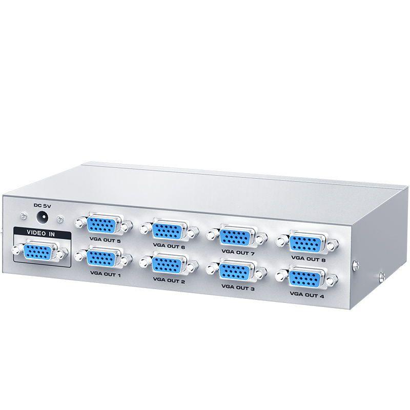 Sıcak öğe HD yüksek çözünürlüklü 1080P 1 x8 500MHz Video bant genişliği 1 giriş 8 çıkış 8 port VGA bölücü desteği yukarı