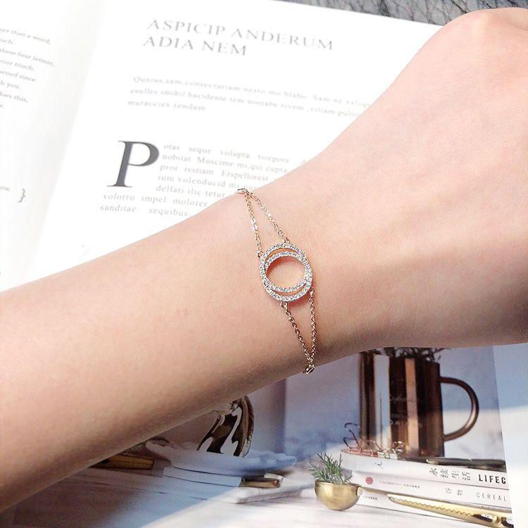Toptan-r ışıltılı! kadın kız 18cm için moda ins Yeni lüks tasarımcı elmas bağlantı zinciri ayarlanabilir gül altın bilezik