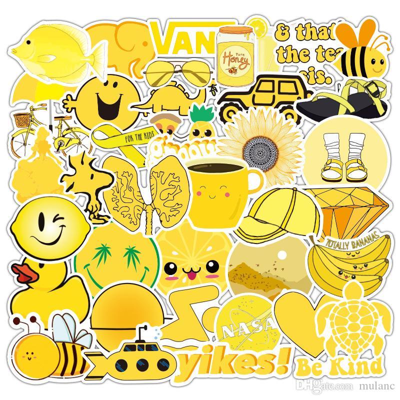 50PCS / حزمة نوع الحقيبة الصغيرة ملصق الجامع صفراء مختلطة للمحمول دراجة التزلج غيتار ملصقا الهاتف باد ملصق مائي لاصق