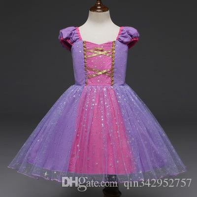 Infant Baby Girls Rapunzel Princess Dresses Kids Cosplay Costume Halloween Clothes Toddler Party Sofia Role-play Dress for Girl