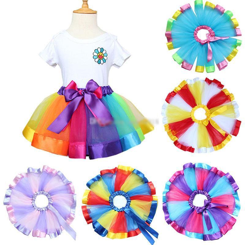 Mezclado chicas del ballet de satén color del arco iris Trimed gasa de la enagua de la danza de los niños Tutu Fiesta de cumpleaños de la cinta faldas del bebé de Halloween del traje E1125