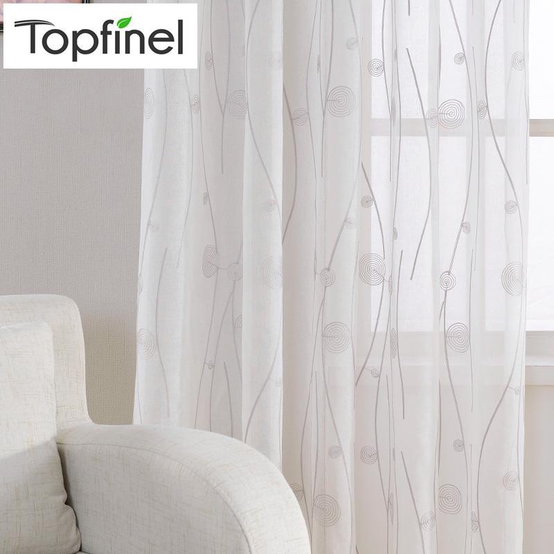 Nuovo bianco ricamato Tende pure per Soggiorno Camera da letto modello astratto window Tulle cucina piccola finestra tende