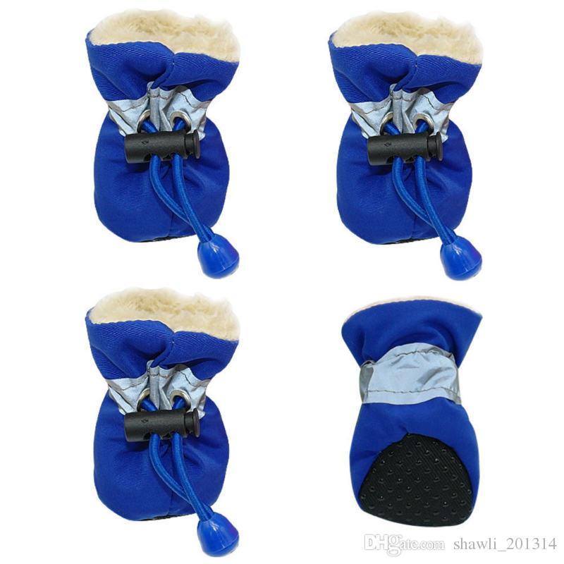 Hiver Portable Chien Pet Chaussures Couverture Non-slip Imperméable À L'eau Rainshoes Bottes De Pluie Automne Hiver Chiens Paws Chaussures Douces Non-slip Couvre-chaussures