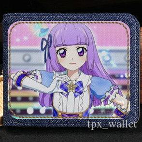 Kanzaki Mizuki wallet Aikatsu purse Hoshimiya Ichigo comic short cash note case Money notecase Leather jean burse bag Card holders