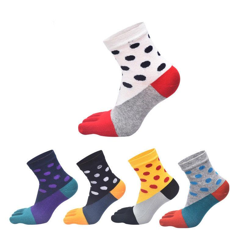 2019 neue Art und Weise der Frauen Baumwollmischung Fünf-Finger-Socken britischen Stil Business Casual nette Socken Multi-Color Strumpfwaren