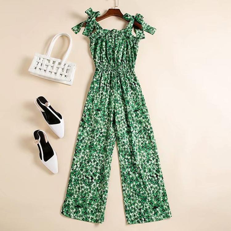 Европейская и американская женская одежда 2020 летний новый стиль бантом содоль ремень содоли зеленый лист печатает модный комбинезон