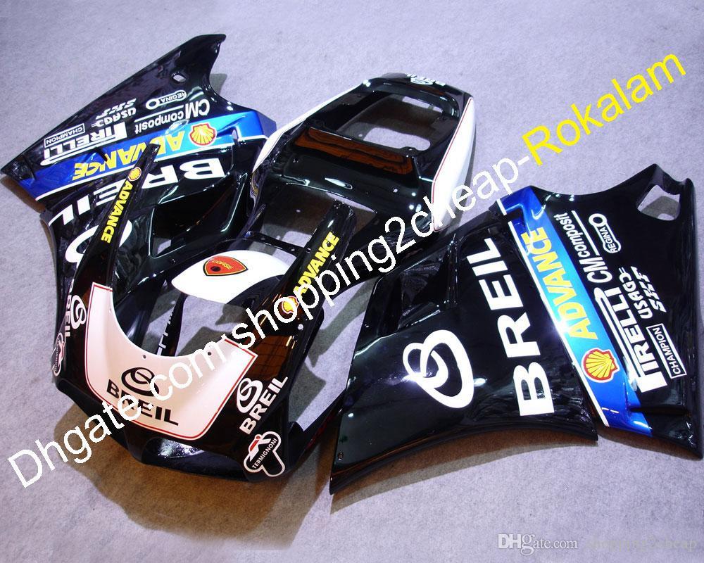 Für Ducati 998 996 748 916 Schwarz Blau Karosserie Verkleidung Motorrad Komplettset 1996 1997 1998 1999 2000 2001 2002 (Spritzguss)