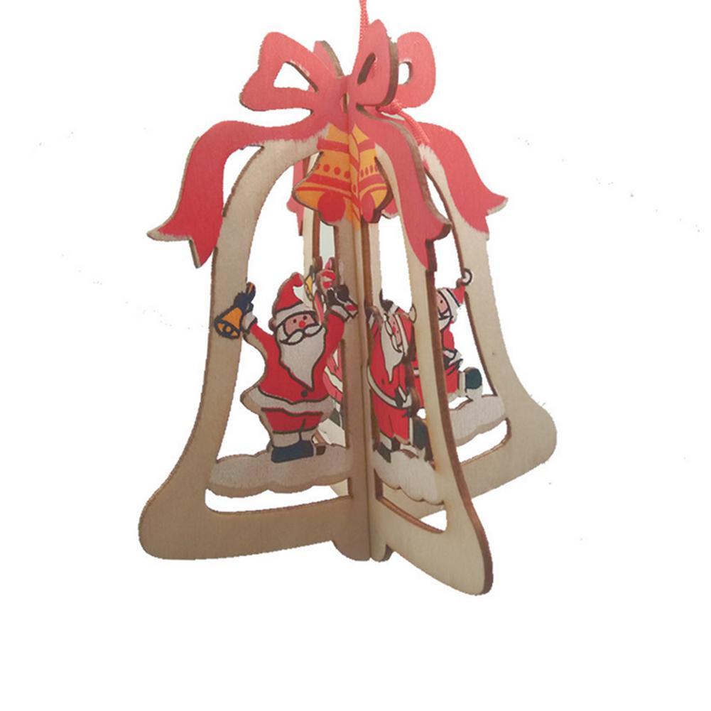 Bois Ruban Cloche d'arbre de Noël Pendentif de Noël Pendentif en bois Bois Maison Artisanat Arbre de Noël Cadeaux Décor O