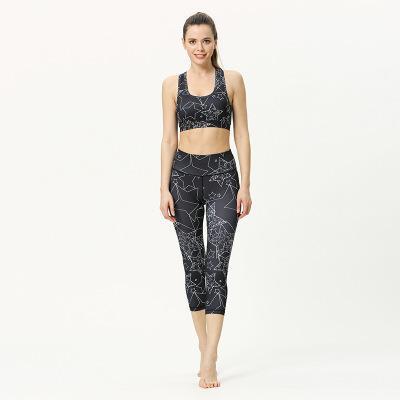 Frauen Designer Yoga-Anzug Zweiteilige Fitness BH Übung Anzug Druck Übung Anzug festen reizvolle Gamaschen Ärmel Teil Top Großhandel