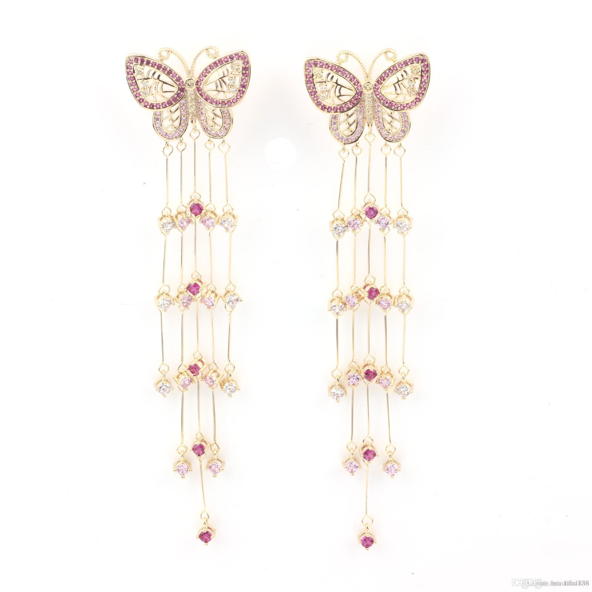 Schmetterling lange Quaste S925 Sterling Silber Ohrstecker übertrieben atmosphärisch Drop Net rote Quaste zeigen Gesicht dünn baumelt Kronleuchter