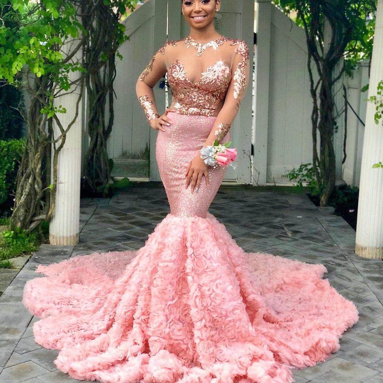 Rosa da sereia Vestidos de baile Sheer Jewel Neck Long Sleeve Sequin apliques de renda Evening vestidos de ver através da celebridade Vestido formal Pageant Vestido