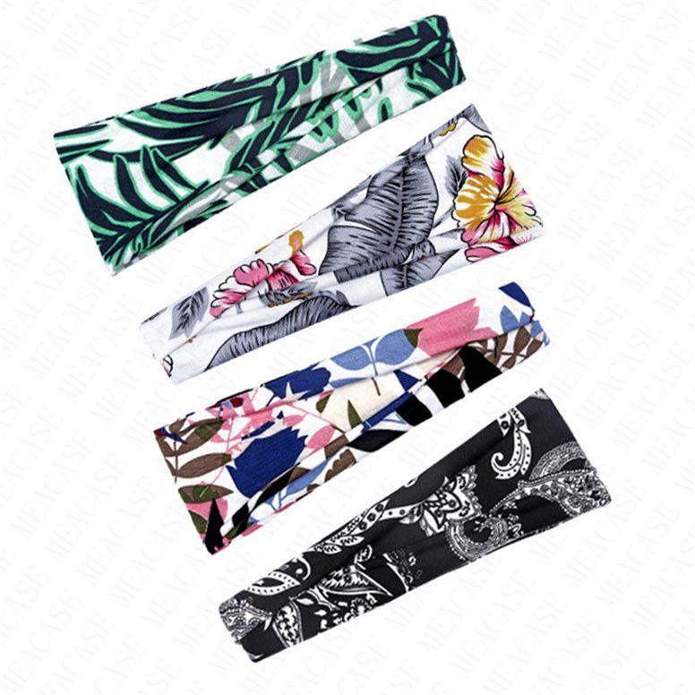 Новый дизайн мужской оголовье Спорт на открытом воздухе диапазона волос Hairbands цветка печати потовые впитывающих Ленточнопильные женщин с широкими полями головной убор тюрбан D6903