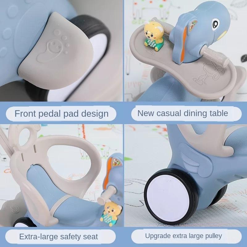 Sedia per bambini Carrello multifunzione a doppio scopo con musica giocattolo per bambini sedia a dondolo giocattolo di plastica bambino trojan cavallo a dondolo cavallo