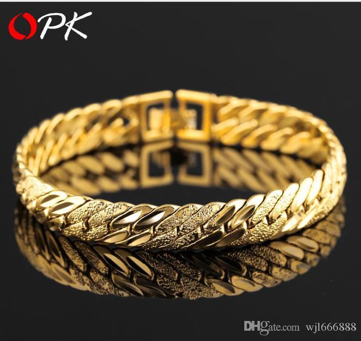 Placcato in oro 1 braccialetto popolare europeo e americano Bracciale in oro piatto grande serpente piatto ...