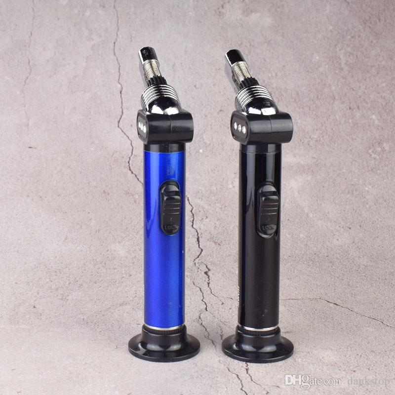 새로운 원피스 슬림 블루 블랙 메탈 방풍 제트 부탄 가스 재충전 가능 담배 불꽃 토치 라이터