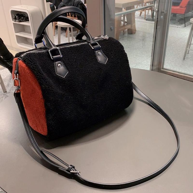 Hiver nouveaux sacs à main de fleurs d'impression de tissu de laine sacs à main pack oreiller 30cm femmes sac de voyage concepteur Sac à bandoulière