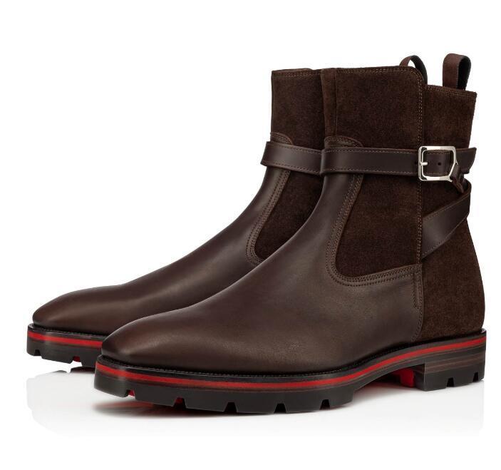 Luxury Winter Мужская Kicko Croc пинетки Brown, Black Leather Lug Подошва Человек Red Bottom Ботильоны Мода Man Martin Luxury Ботильоны лучший подарок