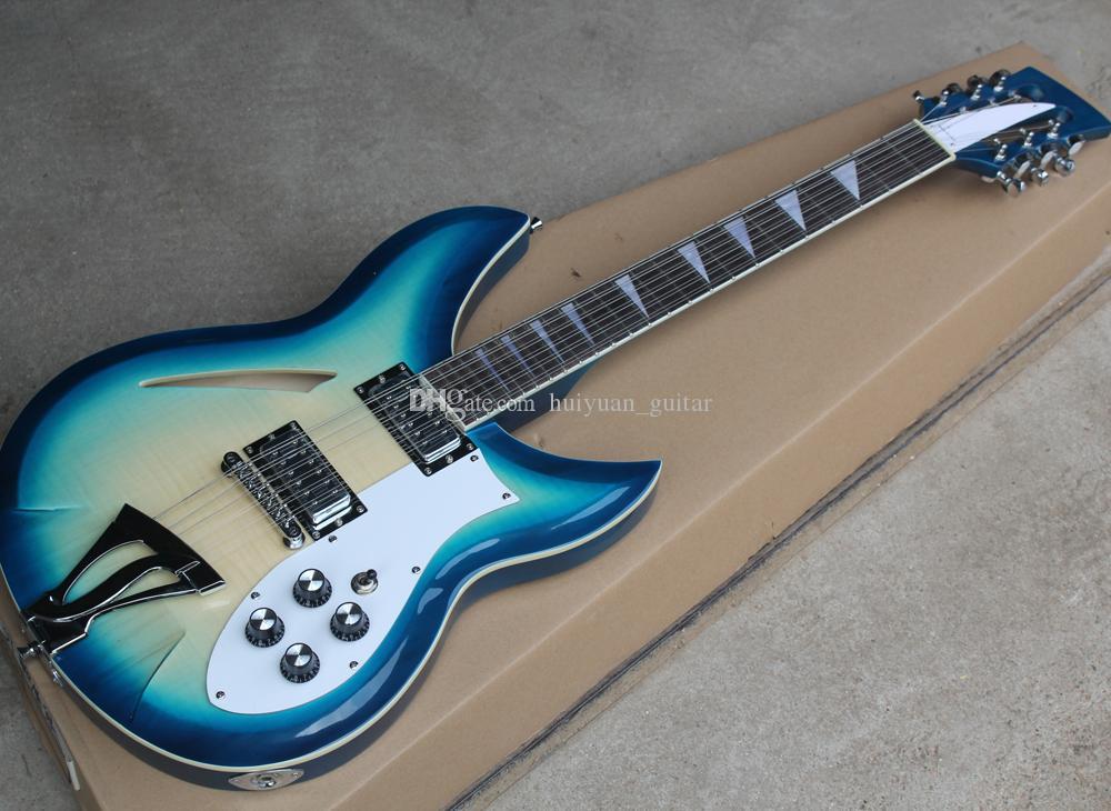 Envío gratis 12 cuerdas La guitarra eléctrica semi-hueca azul con diapasón de palisandro, chapa de arce de llama, se puede personalizar como solicitud
