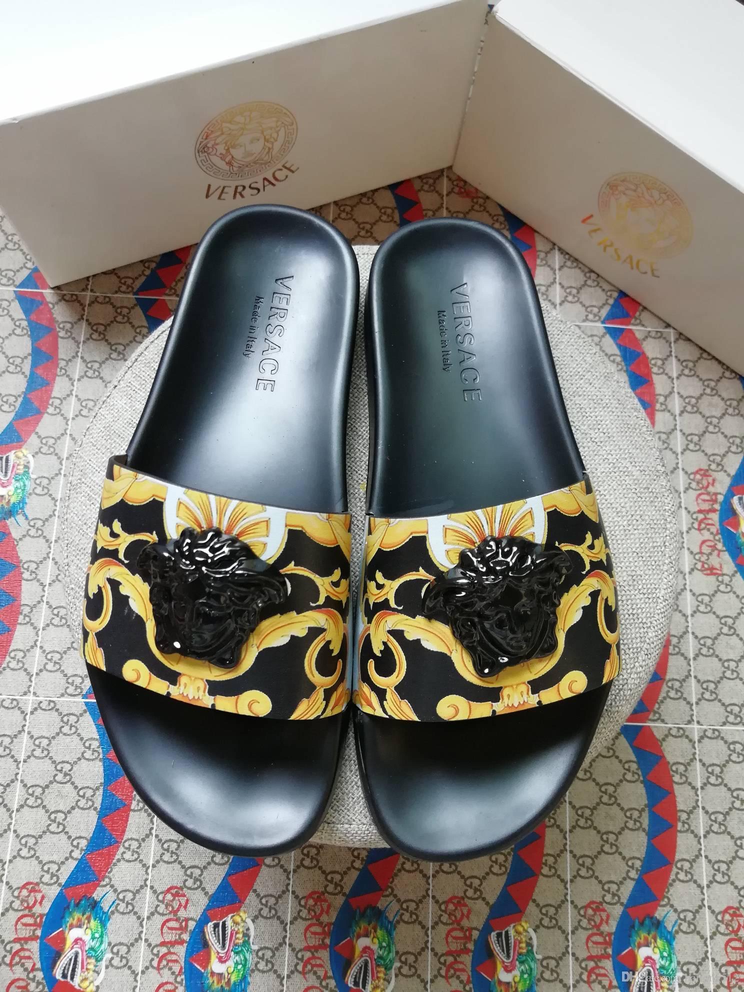 2019 Hausschuhe Herren Sandalen lässig Walking Strandschuhe Hausschuhe Massage Hausschuhe Designer flache Schuhe Sommer Herren ShoeBox + Staubbeutel