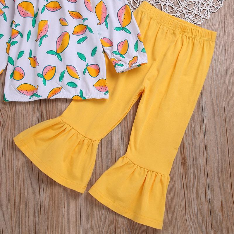 Baby Girl Clothes Long Sleeve Lemon Pattern Clothes and Flared Trousers and Headband Three-Piece Suit