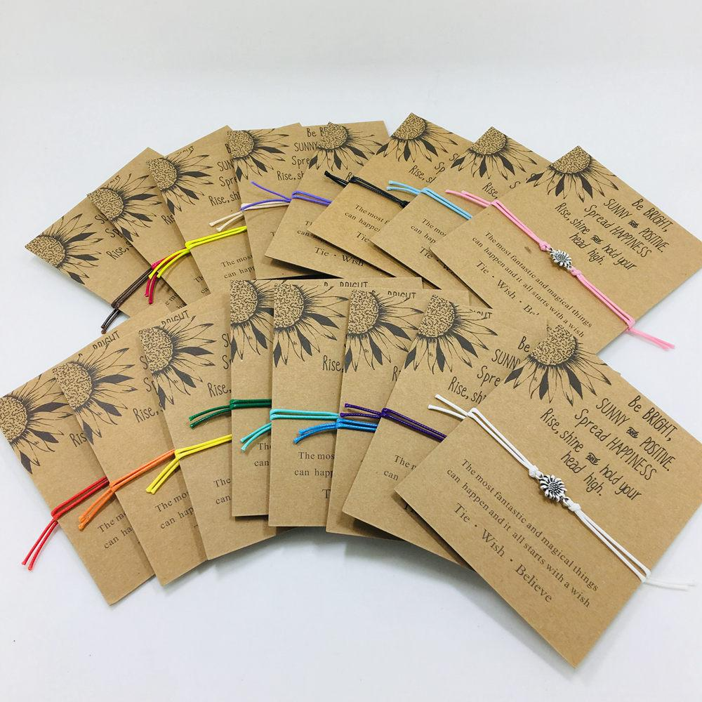 Nouveau tournesol conception Bracelets d'amitié Soeur Cadeaux Bracelet Équipe de travail Souvenir Artisanat main pour les filles anniversaire bijoux à la mode Floral