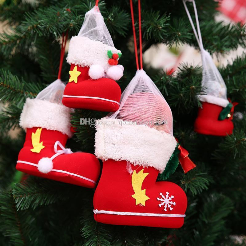 Red christmas stockings Candy Gift Shoes Christams Tree Hangs New Design christmas decorations ornaments Home Decor drop ship