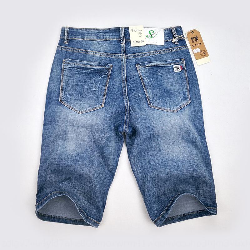 2020 dril de algodón y pantalones vaqueros de los hombres y de estiramiento delgados pantalones cortos pantalones vaqueros rectos de los pantalones de los hombres