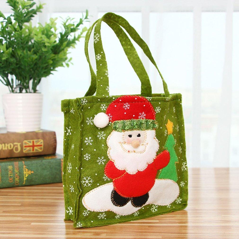 Noel Şeker Çanta Noel Noel Baba Snowman Hediye Çanta Festivali için Kumaş El Şeker Hediye Dokumasız