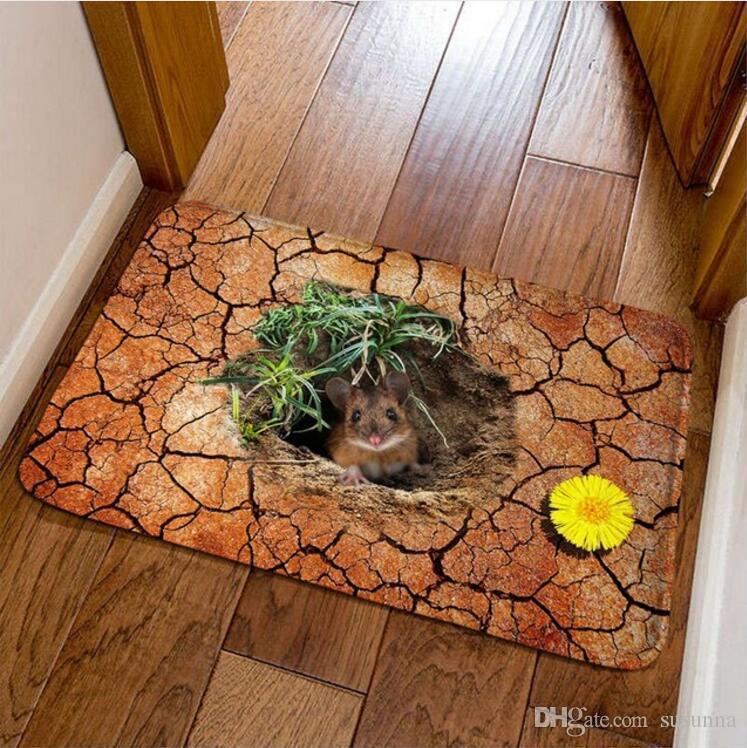 New Fashion 3D Mouse Hole Print Doormat Home Modern Hallway Floor Mat Cartoon Children Room Anti-slipe tapis Free Shipping