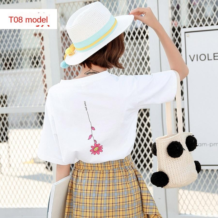 Short-sleeved women's loose cotton Coat T-shirt top versatile top 2020 Summer cotton short white T-shirt