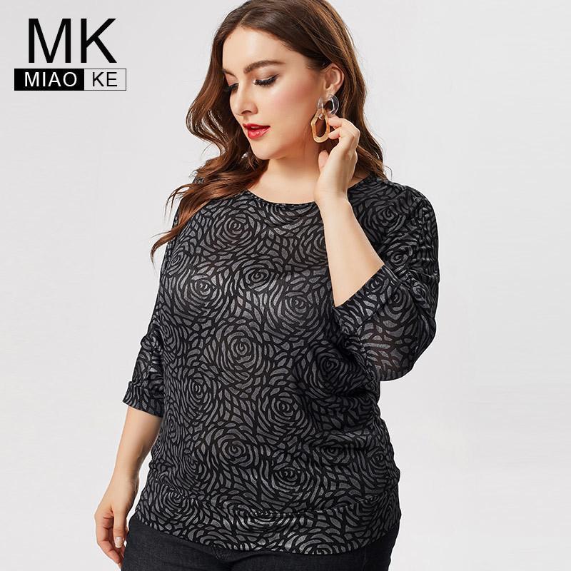 MK 2019 queda Plus Size das mulheres t-shirt das senhoras da forma elegante camisas mãe de sete trimestre manga Vintage topos pretos extensíveis LY191217 blous