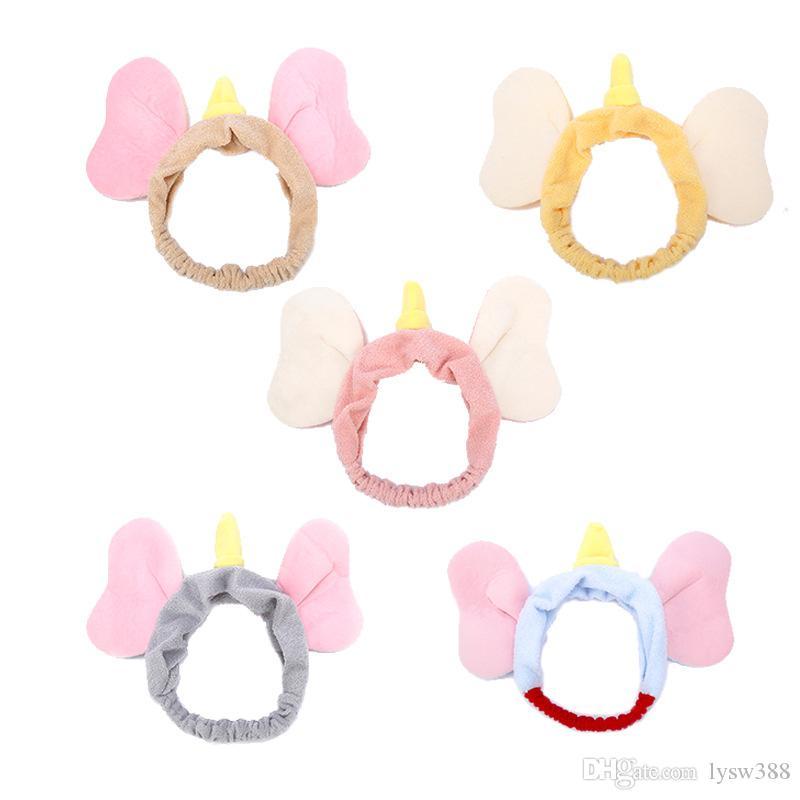 50pcs / lot bricolage multi peluche simples Cartoon oreilles Elephant Bandeau Face Wash Bands Creative Head Outils de cheveux HA862