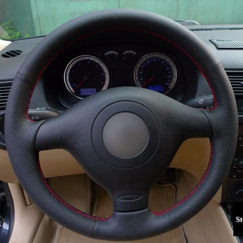 Black Synthetic Leather Car Steering Wheel Cover for Volkswagen VW Golf 4 Passat B5 1996-2003 Polo 1999-2002 Seat Leon1999-2004