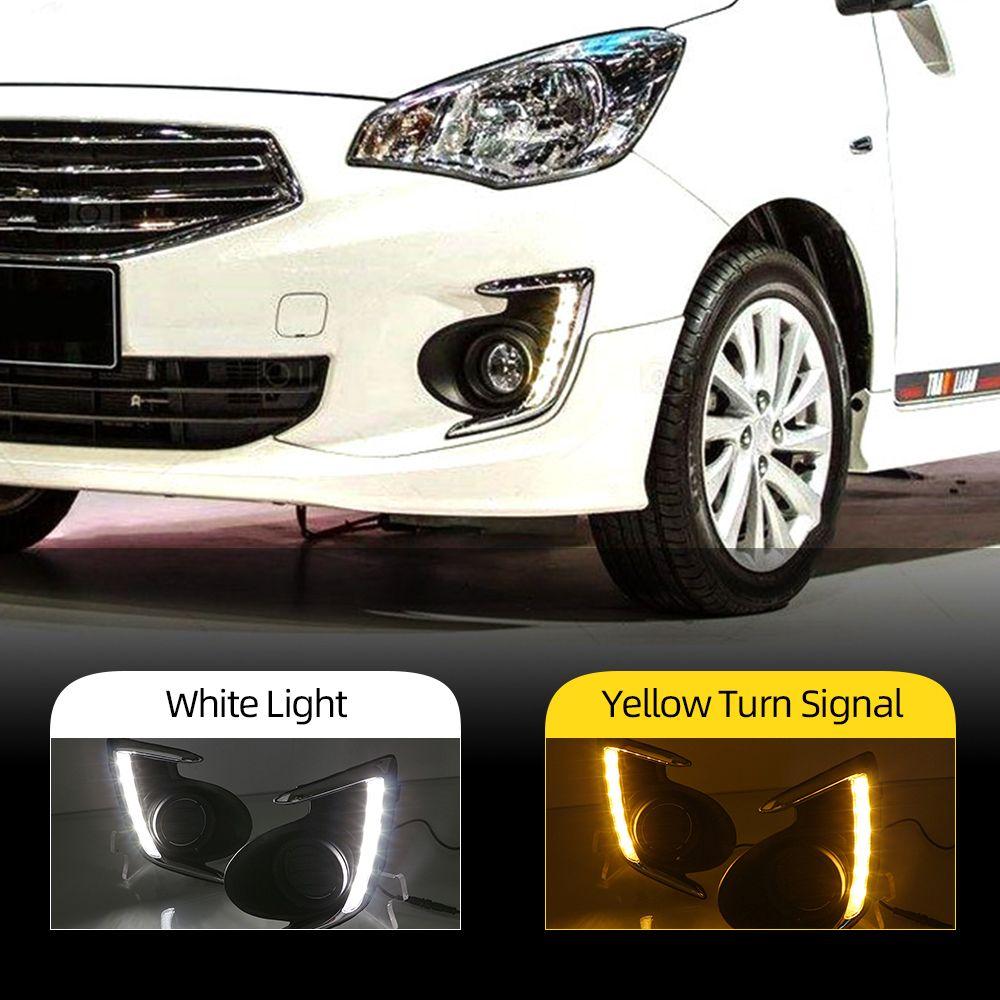 2 ADET DRL MITSUBISHI KAPALI için Mirage G4 2012 2013 2014 2015 2016 2017 LED Araba Gündüz Işık Sürüş Sis Günü Lambası
