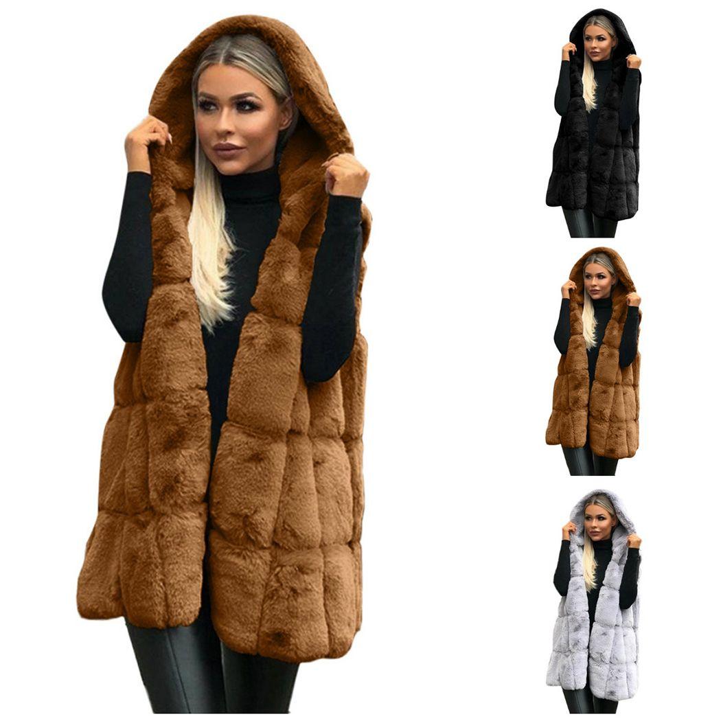 Women Faux Fur Black Sleeveless Vest Waistcoat Gilet Wrap Jacket Coat Outwear Winter Womens Fleece Vests Plus Size S-2XL