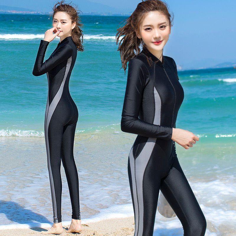 Bikinis Set 2021 Tam Vücut Tek Parça Mayo Kadın Sörf Wetsuit Uzun Kollu Pantolon Güneş Kremi Profesyonel Spor Dalış Suit