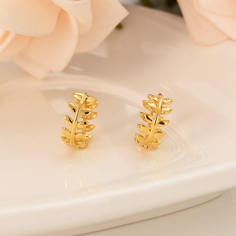 Дубай Индия Африка золотые серьги резные листья ива веточка личность золотые девушки свадьба помолвка подарок сувениры