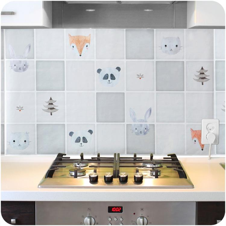 Cuisine à haute température d'huile Preuve résistant Autocollants A523 aluminium auto-adhésif Feuille Carrelage Plaques Stickers Muraux Autocollants étanche huile Proo
