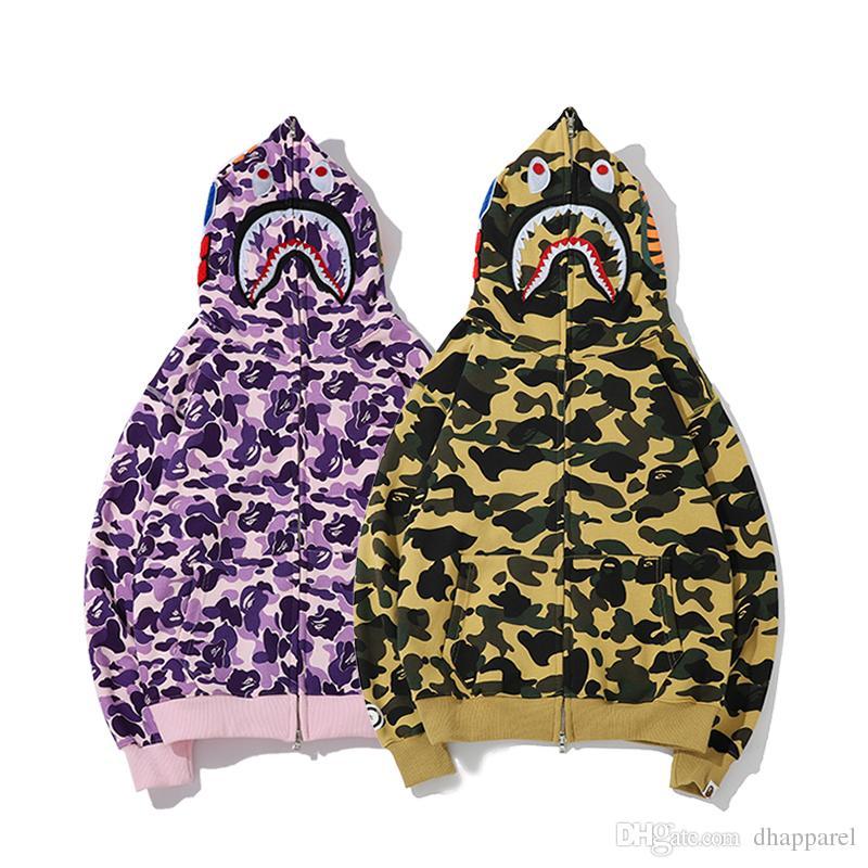 Autunno Inverno Amante ricamato Camo Zipper viola con cappuccio maglione da uomo Camo Casual completo Zipper Hooded Jacket